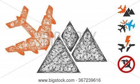Mesh Piramides Airplane Crash Web 2d Vector Illustration. Abstraction Is Based On Piramides Airplane