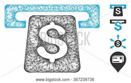 Mesh Atm Web Icon Vector Illustration. Carcass Model Is Based On Atm Flat Icon. Mesh Forms Abstract