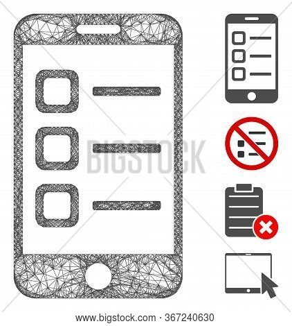 Mesh Mobile List Web 2d Vector Illustration. Model Is Based On Mobile List Flat Icon. Mesh Forms Abs