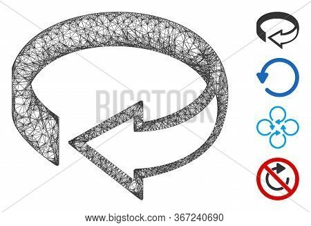 Mesh 3d Rotation Web Icon Vector Illustration. Carcass Model Is Based On 3d Rotation Flat Icon. Mesh