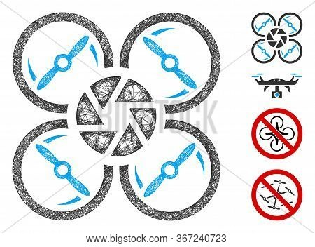 Mesh Shutter Drone Web 2d Vector Illustration. Model Is Based On Shutter Drone Flat Icon. Mesh Forms