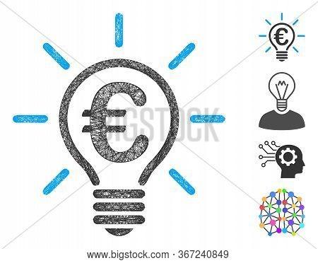 Mesh Euro Idea Bulb Web Symbol Vector Illustration. Carcass Model Is Based On Euro Idea Bulb Flat Ic