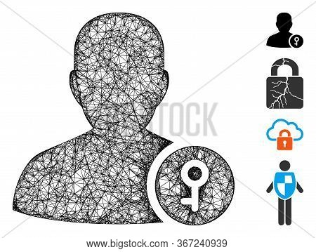Mesh User Key Web Icon Vector Illustration. Abstraction Is Based On User Key Flat Icon. Mesh Forms A