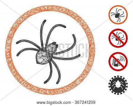 Mesh Spider Web 2d Vector Illustration. Model Is Based On Spider Flat Icon. Network Forms Abstract S