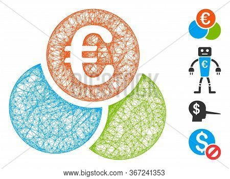 Mesh Euro Finances Web Icon Vector Illustration. Carcass Model Is Based On Euro Finances Flat Icon.