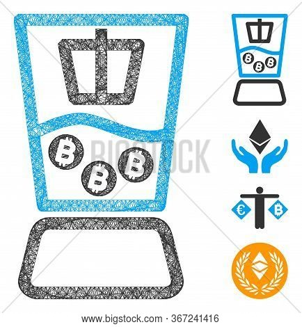 Mesh Bitcoin Mixer Web Icon Vector Illustration. Model Is Based On Bitcoin Mixer Flat Icon. Network