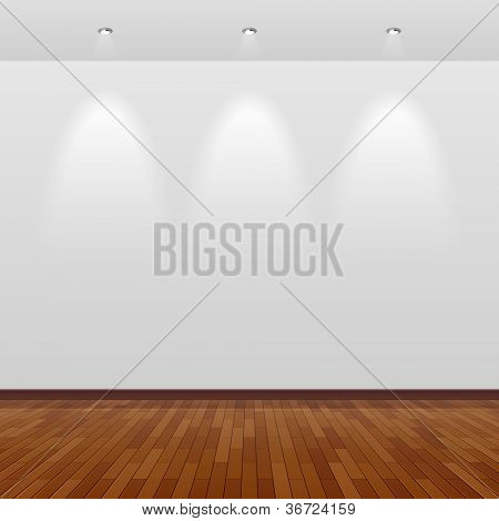 Empty room with white wall and wooden floor. Vector.