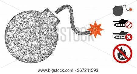 Mesh Bomb Web Icon Vector Illustration. Model Is Created From Bomb Flat Icon. Mesh Forms Abstract Bo