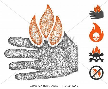 Mesh Burn Hand Web Icon Vector Illustration. Model Is Created From Burn Hand Flat Icon. Mesh Forms A
