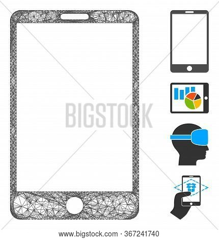Mesh Smartphone Web Icon Vector Illustration. Model Is Created From Smartphone Flat Icon. Network Fo