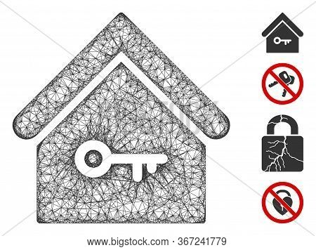 Mesh Home Key Web Icon Vector Illustration. Carcass Model Is Based On Home Key Flat Icon. Network Fo