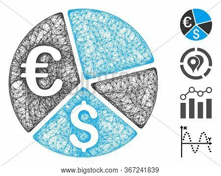 Mesh Euro And Dollar Pie Chart Web 2d Vector Illustration. Carcass Model Is Based On Euro And Dollar