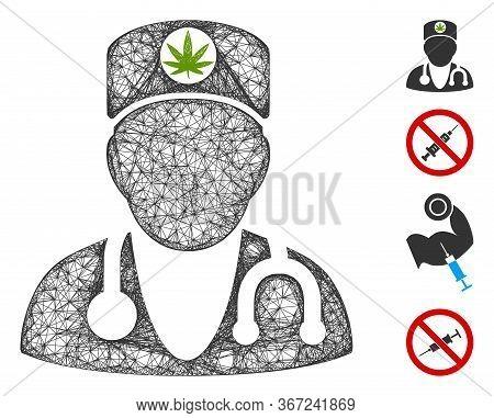 Mesh Marijuana Doctor Web 2d Vector Illustration. Carcass Model Is Based On Marijuana Doctor Flat Ic