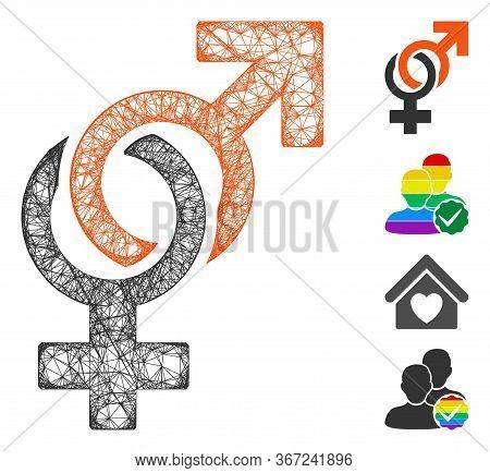 Mesh Sexual Symbols Web Symbol Vector Illustration. Carcass Model Is Based On Sexual Symbols Flat Ic