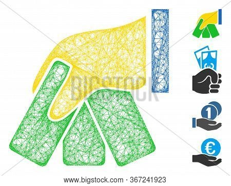 Mesh Banknotes Payment Hand Web Symbol Vector Illustration. Model Is Based On Banknotes Payment Hand