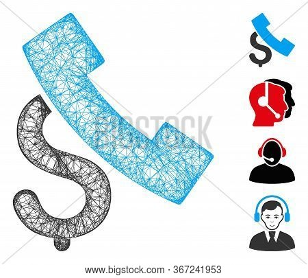 Mesh Pay Phone Call Web Icon Vector Illustration. Model Is Based On Pay Phone Call Flat Icon. Networ