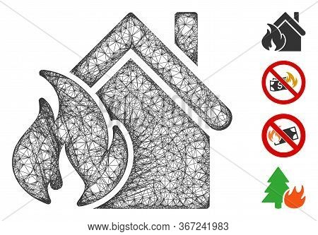Mesh Realty Fire Disaster Web Icon Vector Illustration. Carcass Model Is Based On Realty Fire Disast