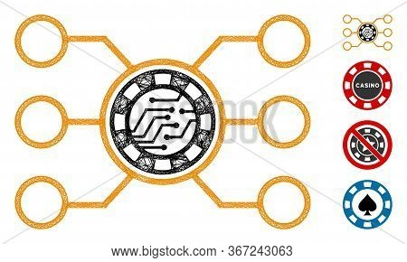 Mesh Casino Chip Circuit Web Icon Vector Illustration. Abstraction Is Based On Casino Chip Circuit F