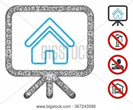 Mesh House Project Web Icon Vector Illustration. Model Is Created From House Project Flat Icon. Mesh