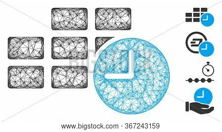 Mesh Date Time Web 2d Vector Illustration. Carcass Model Is Based On Date Time Flat Icon. Mesh Forms