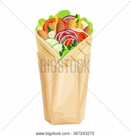 Shawarma Or Chicken Wrap In Paper Packaging Vector Icon. Turkish Fast Food With Meat And Vegetables