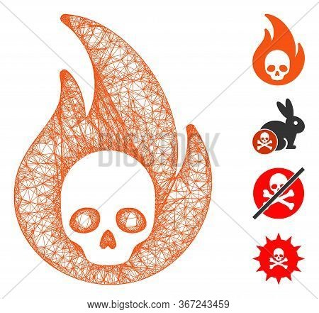 Mesh Hellfire Web Icon Vector Illustration. Carcass Model Is Created From Hellfire Flat Icon. Mesh F