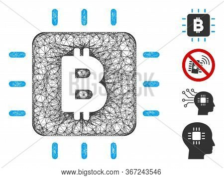 Mesh Bitcoin Chip Web Icon Vector Illustration. Carcass Model Is Based On Bitcoin Chip Flat Icon. Me