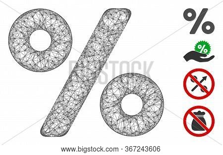 Mesh Percent Web Icon Vector Illustration. Model Is Created From Percent Flat Icon. Net Forms Abstra