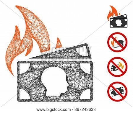 Mesh Banknotes Fire Disaster Web Icon Vector Illustration. Model Is Created From Banknotes Fire Disa