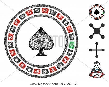 Mesh Casino Roulette Web Icon Vector Illustration. Carcass Model Is Based On Casino Roulette Flat Ic