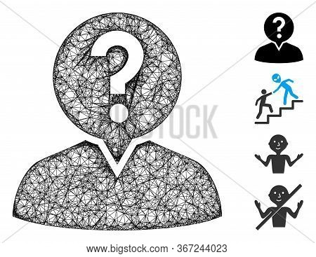 Mesh Student Web 2d Vector Illustration. Model Is Created From Student Flat Icon. Network Forms Abst