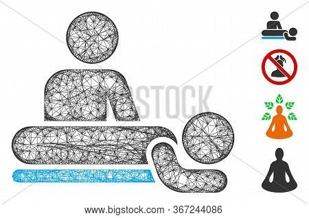 Mesh Massage Web Icon Vector Illustration. Model Is Based On Massage Flat Icon. Network Forms Abstra