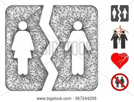 Mesh Divorce Web 2d Vector Illustration. Carcass Model Is Based On Divorce Flat Icon. Mesh Forms Abs