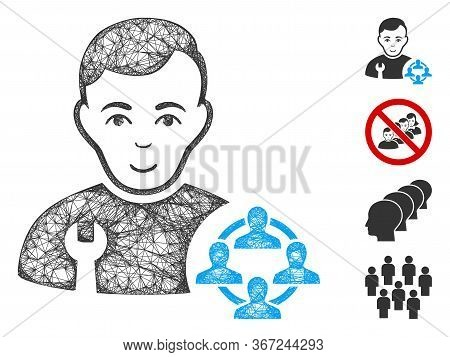 Mesh Social Engineer Web Icon Vector Illustration. Carcass Model Is Based On Social Engineer Flat Ic