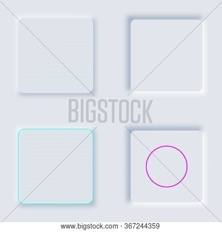 Bright White Cube Set Gradient Buttons. Internet Symbols On A Background. Neumorphic Effect Icons. S