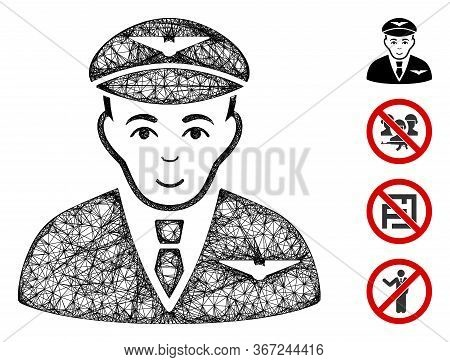 Mesh Pilot Web 2d Vector Illustration. Carcass Model Is Created From Pilot Flat Icon. Mesh Forms Abs