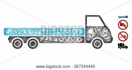 Mesh Truck Web Icon Vector Illustration. Model Is Based On Truck Flat Icon. Network Forms Abstract T