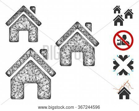 Mesh Village Buildings Web Icon Vector Illustration. Model Is Based On Village Buildings Flat Icon.