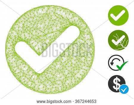 Mesh Valid Web Symbol Vector Illustration. Carcass Model Is Based On Valid Flat Icon. Network Forms