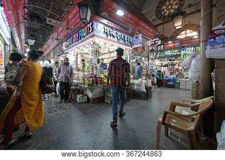 MUMBAI, INDIA - FEBRUARY 14, 2020: Crawford market, built in the days of the British Raj, now officially renamed Mahatma Jyotiba Phule Market, Mumbai, India