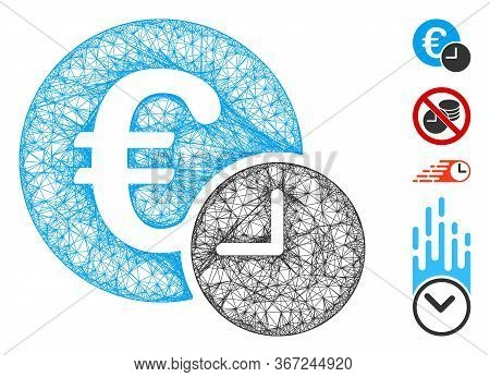 Mesh Euro Credit Web Icon Vector Illustration. Carcass Model Is Based On Euro Credit Flat Icon. Netw