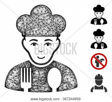 Mesh Cook Web 2d Vector Illustration. Abstraction Is Based On Cook Flat Icon. Network Forms Abstract