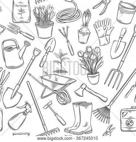 Gardening Tools And Flowers Seamless Pattern. Outline Vector Background With Rubber Boots, Seedling,