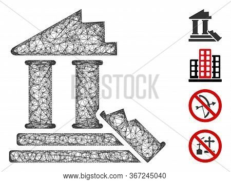 Mesh Historic Ruins Web Icon Vector Illustration. Model Is Based On Historic Ruins Flat Icon. Mesh F