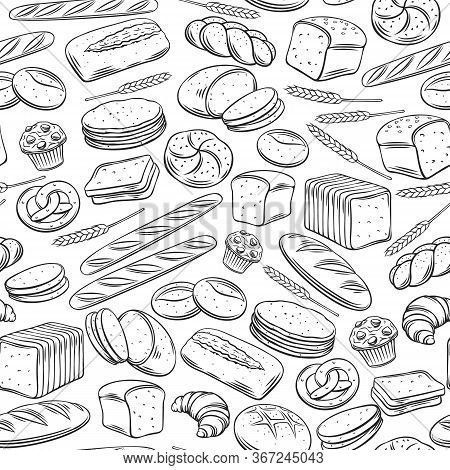 Bakery Seamless Pattern. Outline Vector Background Rye, Whole Grain And Wheat Bread, Pretzel, Muffin