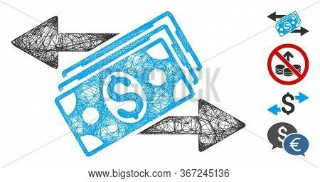 Mesh Dollar Banknotes Payments Web Icon Vector Illustration. Carcass Model Is Created From Dollar Ba