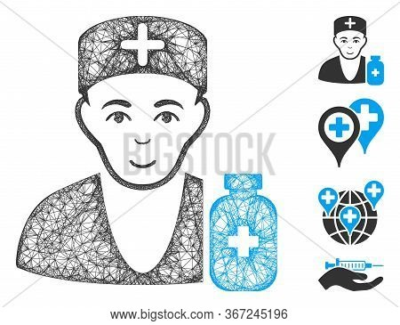 Mesh Apothecary Doctor Web Icon Vector Illustration. Carcass Model Is Based On Apothecary Doctor Fla
