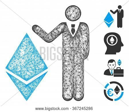 Mesh Banker Show Ethereum Web Symbol Vector Illustration. Carcass Model Is Based On Banker Show Ethe