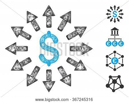 Mesh Money Distribution Web Icon Vector Illustration. Carcass Model Is Based On Money Distribution F