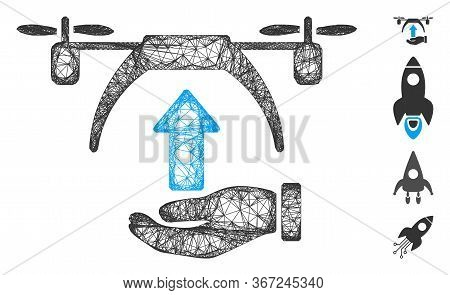 Mesh Drone Takeoff Web 2d Vector Illustration. Model Is Based On Drone Takeoff Flat Icon. Net Forms